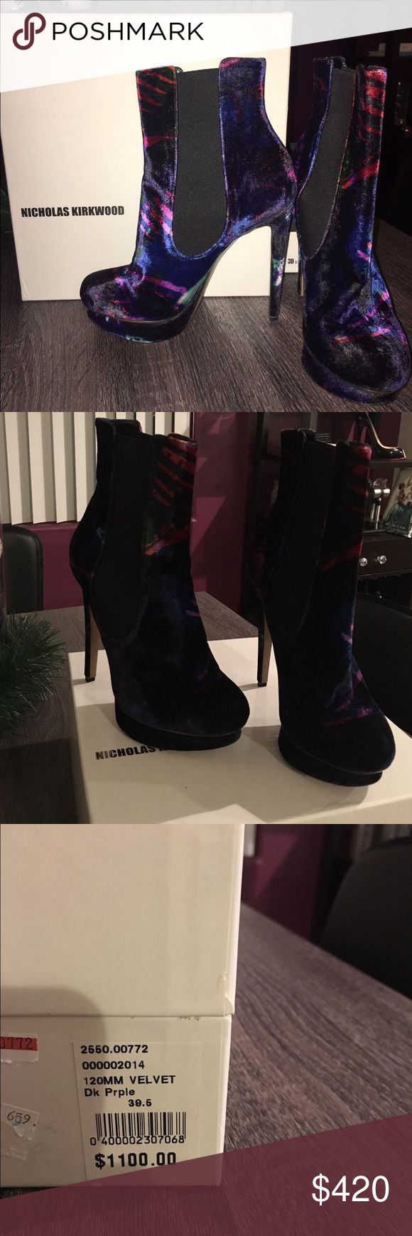 Nicholas Kirkwood velvet booties Great condition Nicholas Kirkwood velvet booties. They are 39.5 but I wear an 8-8.5 usually and they fit me great with socks. These are super stylish and cute!!! Nicholas Kirkwood Shoes Ankle Boots & Booties