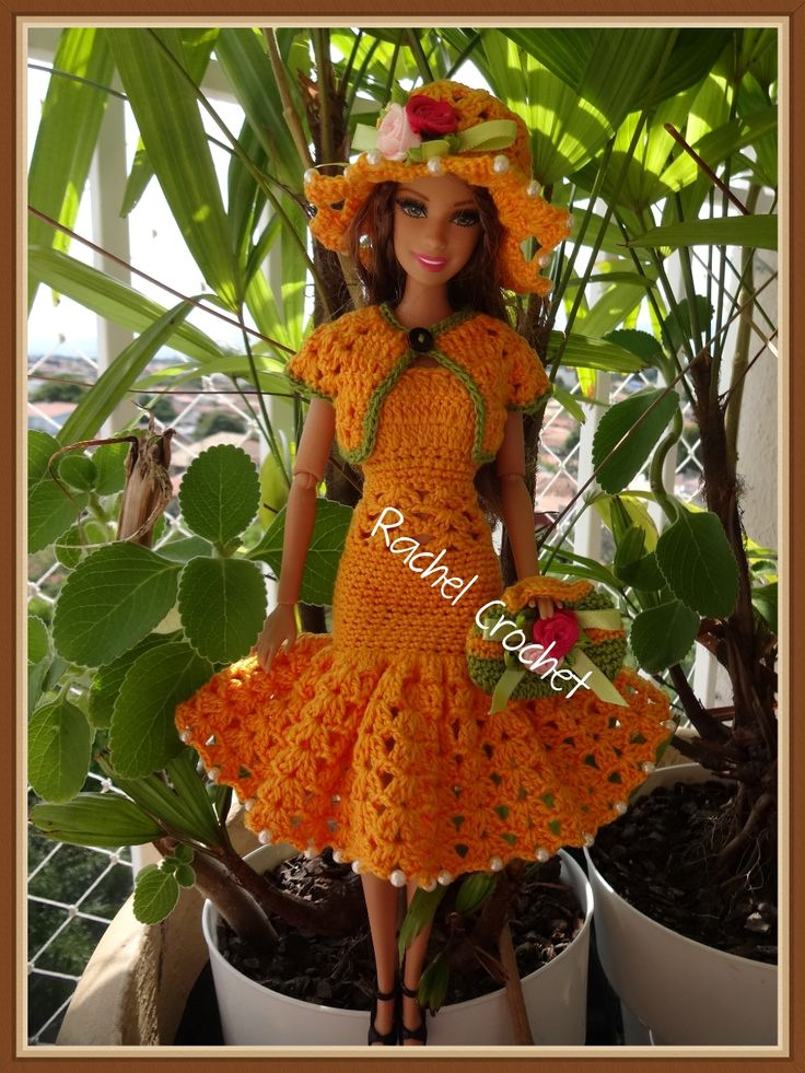 #Cléa5 #Doll #Crochet #Vestido #Dress #Barbie #Chapéu #Hat #RaquelGaucha #Bolero