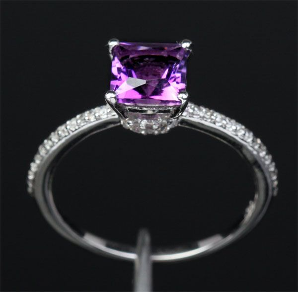 purple engagement rings | ... CUT DARK PURPLE AMETHYST --14K WHITE GOLD PAVE DIAMOND ENGAGEMENT RING