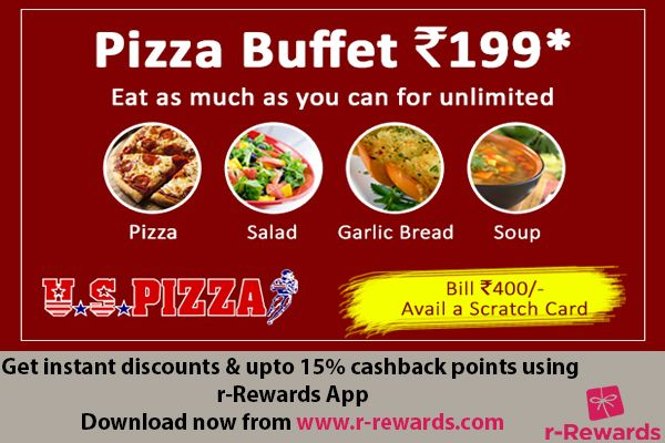 r-Rewards loyalty program is now live at U.S Pizza Kukatpally, Hyderabad City. Sign up now and get Rs. 20 instant discount plus up to 15% cashback points. Also enjoy unlimited Pizza @ Rs. 199. Download the app here:  http://r-rewards.com/