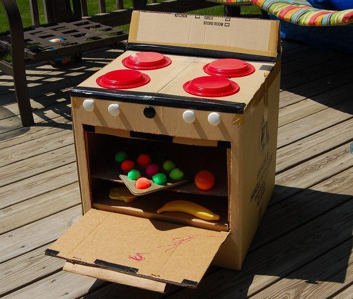 cardboard box into toy land ideas.