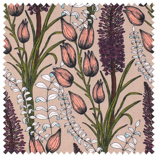 Foxtail Lily Fabric (Taupe) | Abigail Borg