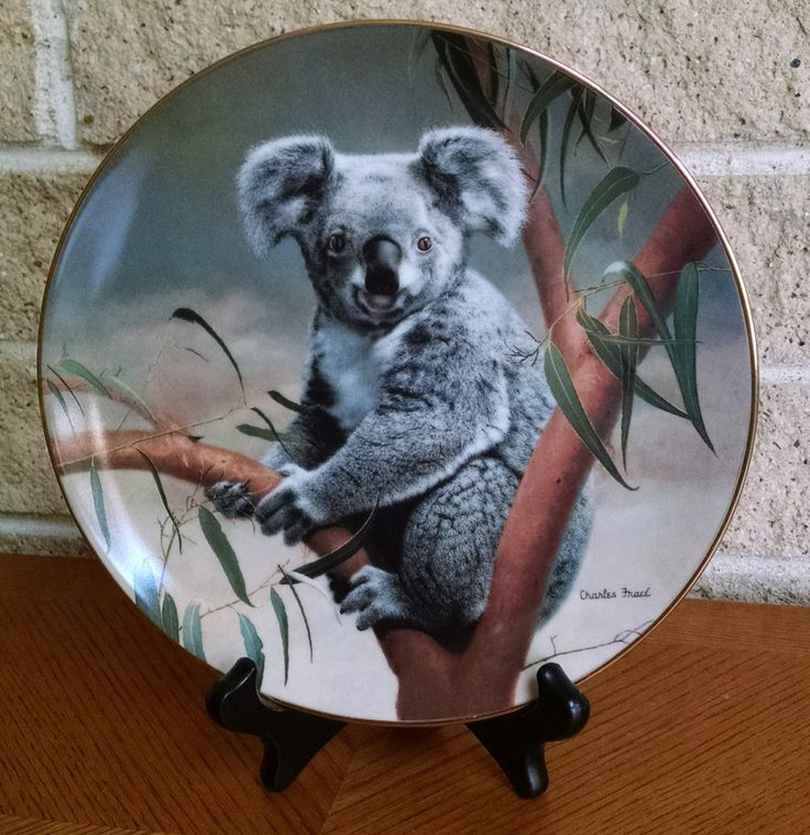 Koala Plate - The Koala - Charles Frace' - First Issue Nature's Lovables Series 1990 - W.S. George China -Wildlife Society Collectible Plate by ClassyVintageGlass on Etsy
