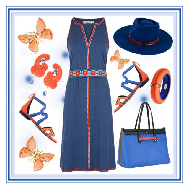 Butterfly by amisha73 on Polyvore featuring moda, Tory Burch, Pierre Hardy, Furla, Dsquared2 and San Diego Hat Co.