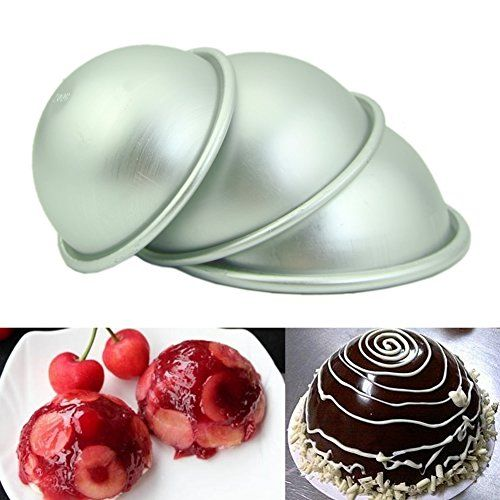YSTD DIY Hemisphere Half Round Cake Pan Mold Chocolate Pudding Bake Tray Mould 7CM * Check this awesome product by going to the link at the image.