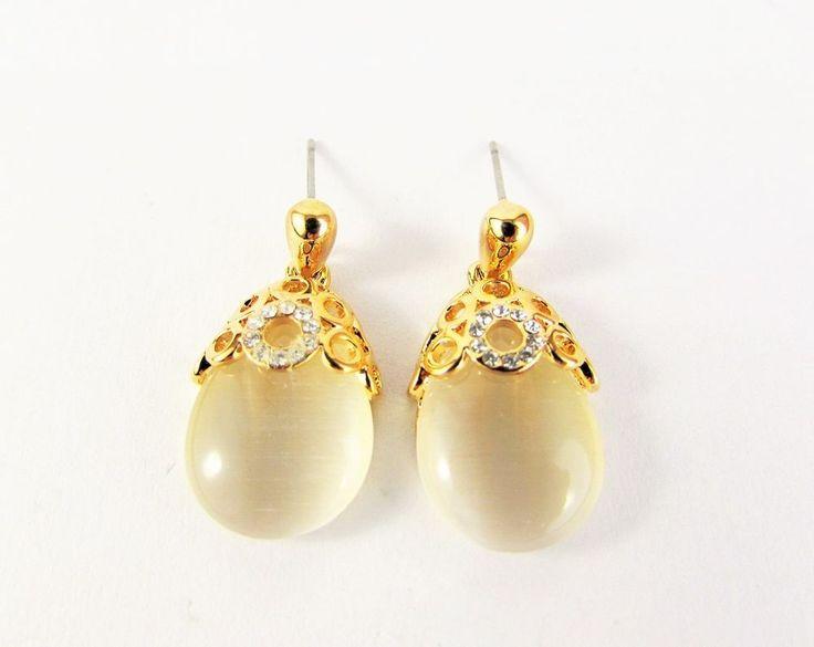Gold Plated 18K GP Crystal Dangle Stud Earrings Women Jewellery