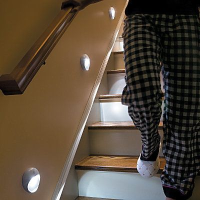 Motion-activated wirelss stair lights. Too cool!
