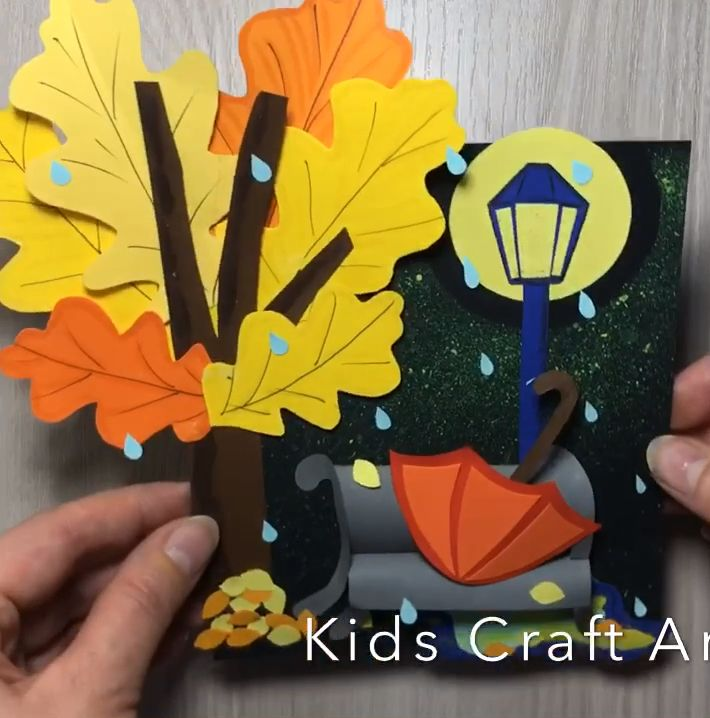 Paper fall craft for kids umbrella under rain
