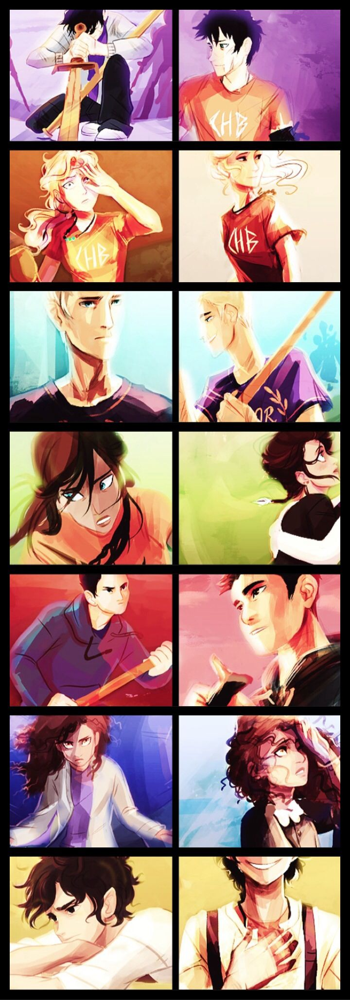 From top to bottom : Percy, Annabeth, Jason, Piper, Frank, Hazel and Leo