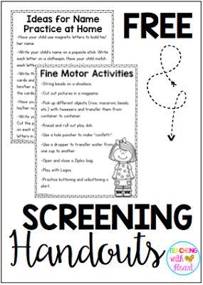 Get ready for back to school with a  kindergarten screening or round up! Check out a new twist on kindergarten screening and grab 2 FREEBIES- letter ID assessment and handouts for parents!