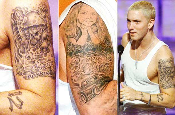 Rapper Eminem tattoo on sleeves
