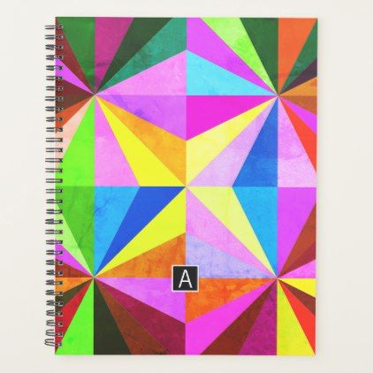 Colorful Modern Multi-Colored Geometric | Monogram Planner - monogram gifts unique design style monogrammed diy cyo customize