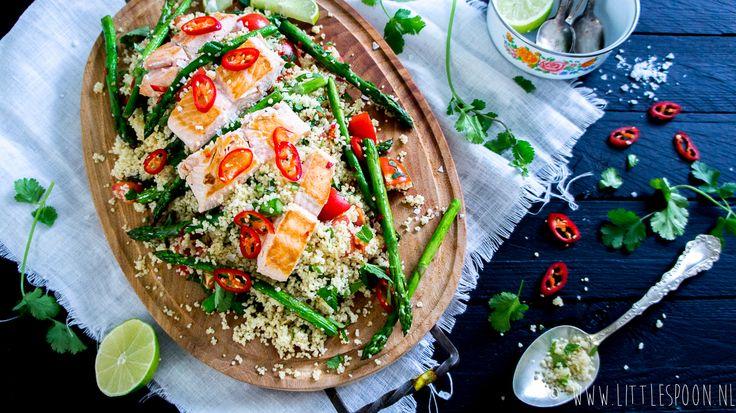 Makkelijke & snel: couscous met zalm en groene asperges - Little Spoon