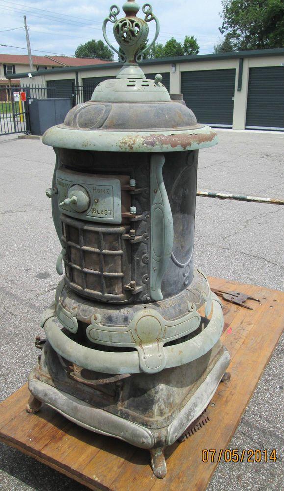 Antique Germer Cast Iron Parlor Wood Burner Pot Belly Box Stove 2 Restore