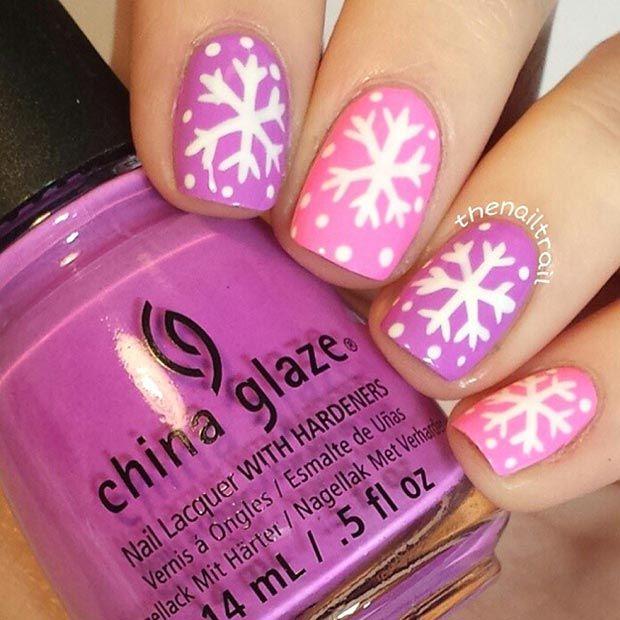 Pink and SnowFlake Nail Art Idea
