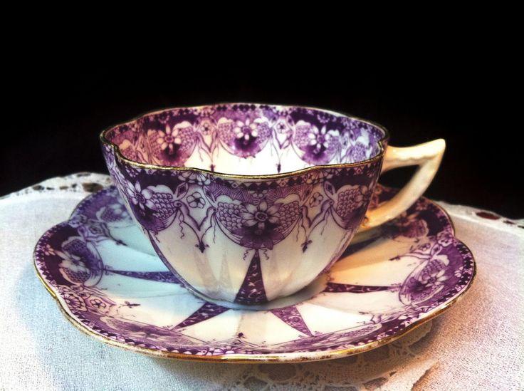 antique tea cup purple transferware