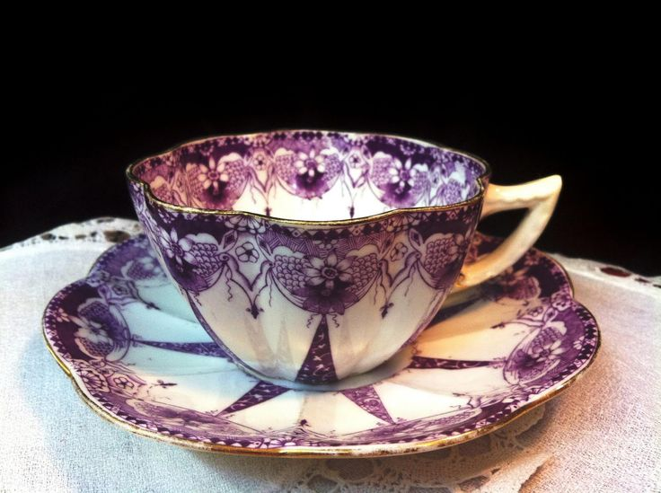 antique tea cup purple transferware