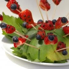 strawberries with blueberry heads  stuck in avocado