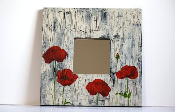 20 off SALE Poppy decoupage mirror home decor living by CatHot