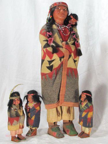 Four Ca. 1930 Skookum Dolls One 20-inch Three 7-Inch W/ Labels Beadwork Jewelry