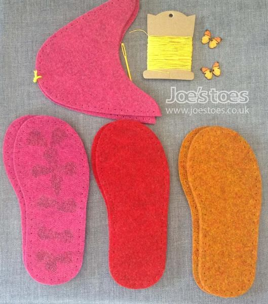 U.S. sizes Complete Felt Slipper Kit - Butterfly  Button - Joe's Toes  - 1
