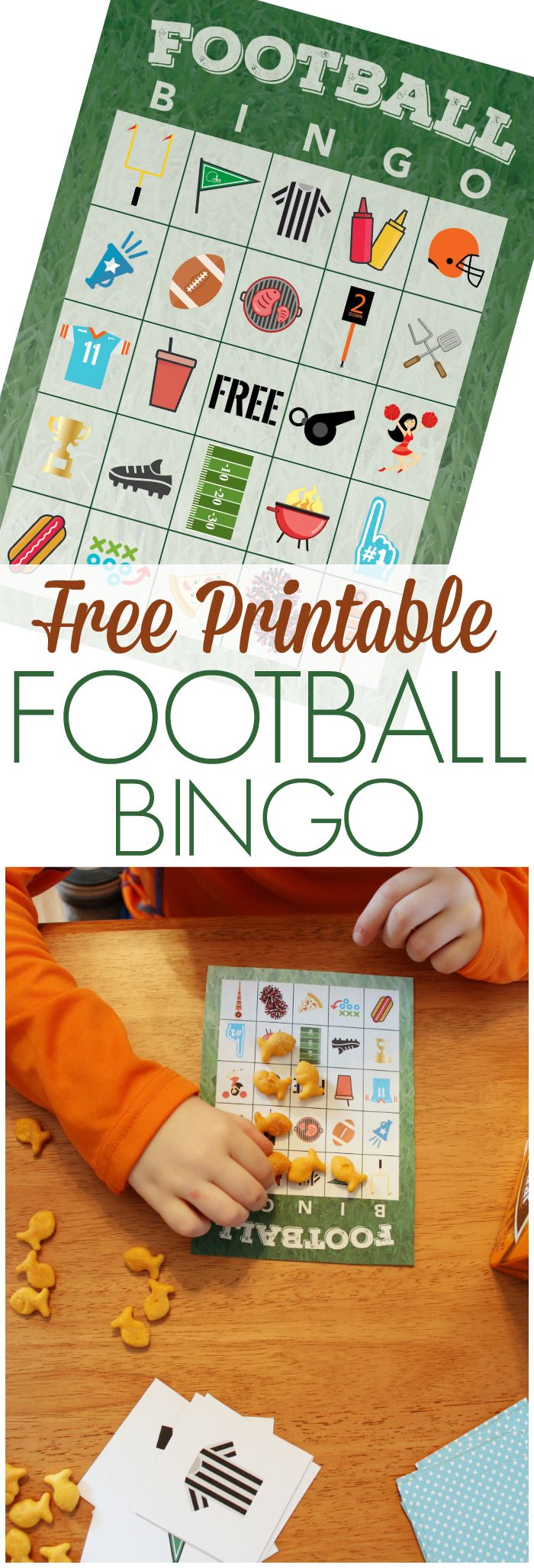 Use this free printable football bingo game to keep the kids entertained during the football game! #GameDayGoldfish @target AD