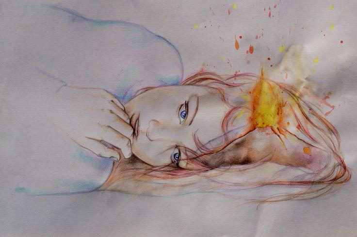"""""""Un esplosione di colore"""" Acquerello e matita su foglio"""