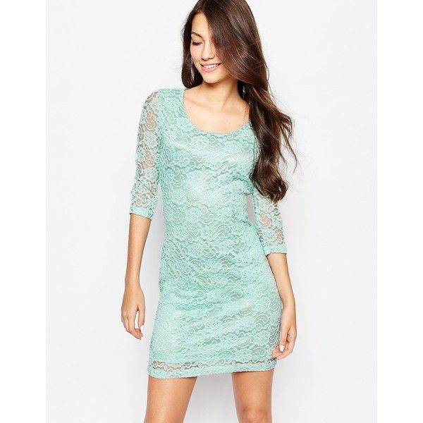Glamorous Lace Bodycon Dress (39 CAD) ❤ liked on Polyvore featuring dresses, green, mint dress, glamorous dresses, green bodycon dress, bodycon dress and green dress