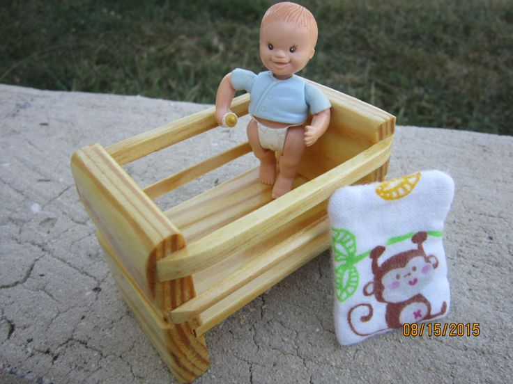 Loving Family Doll Dollhouse Baby Wooden Crib with Reversible Flannel Elephant and Monkey Blanket #etsy #toys #lovingfamily #dollhouse http://etsy.me/2FBgmbQ
