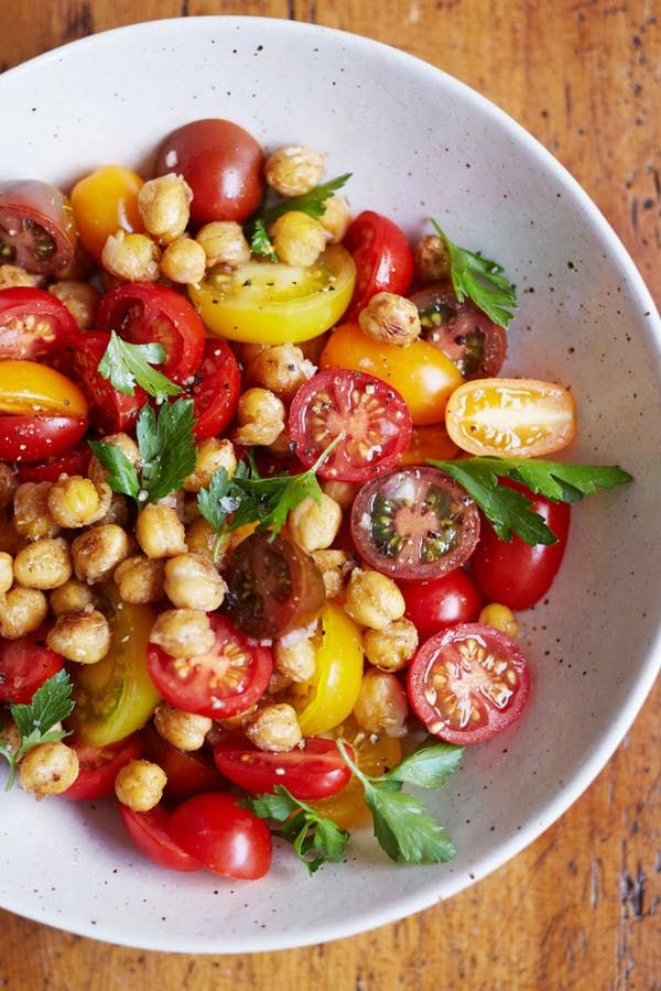 Recipe: Tomato Chickpea Salad | Kitchn I added Lemon juice and chopped Sugar Snap Peas for extra crunch, YUM!