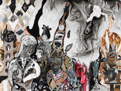 Ida Kvetny,  Invidia, 2014, Mixed media on canvas, 217 x 139 cm.  Courtesy: Galleri Christoffer Egelund