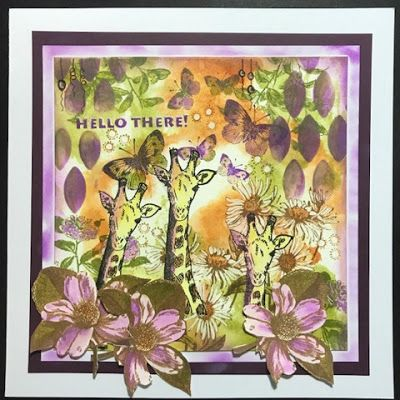 * Rubber Dance Blog *: Greeting card using African Animals and Antique Botanicals Stamps