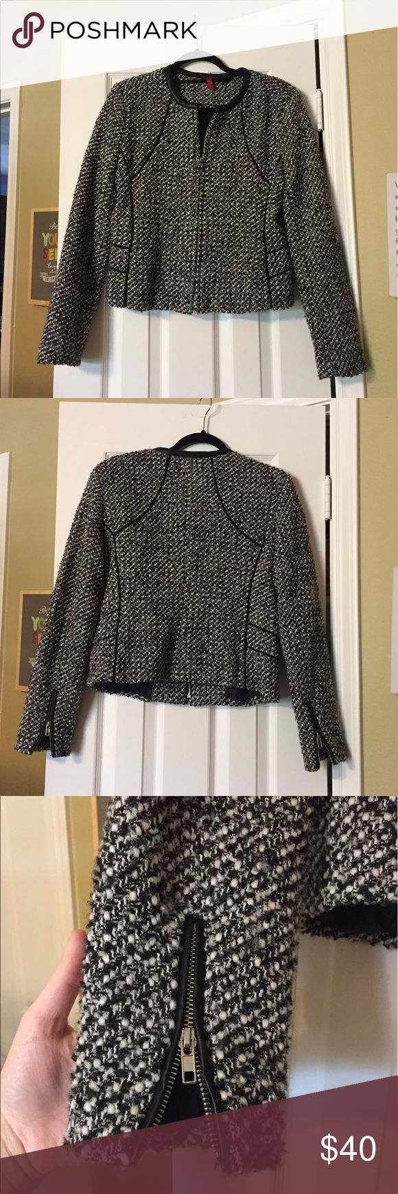 Black & White Zip-Up Nice Jacket Sort of stiff/thick. Faux leather trim. Black and white design. Zips all the way up. Zippers on sleeves. Brand is 548 which I think is a house brand of Saks Off? Saks Fifth Avenue Jackets & Coats