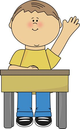 raise hand Clip Art | Raising Hand Clip Art Image - boy sitting at a school desk and raising ...
