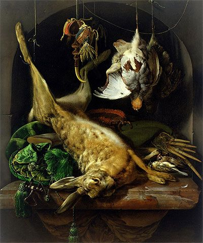 Inspiration for Johannes's paintings -  Still Life with a Dead Hare, Partridges and Other Birds in a Niche  c.1675 - Jan Weenix