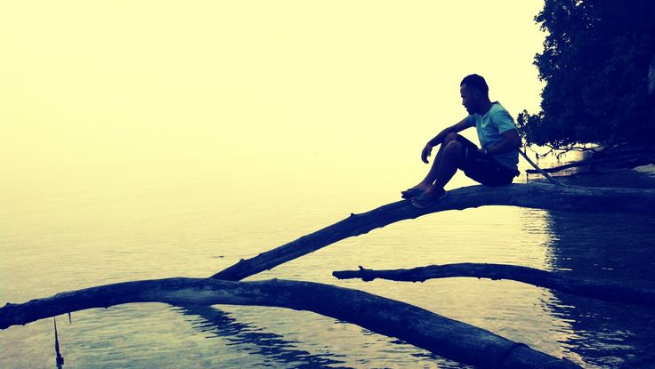 man on the see at pulau melinjo