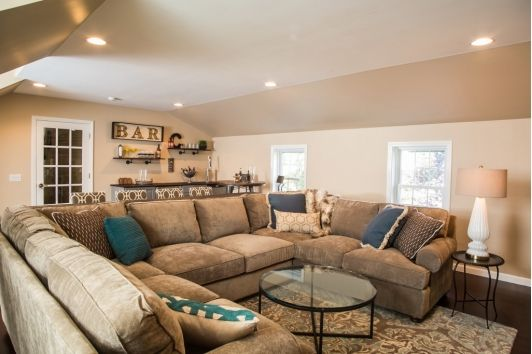 Living Room Design with Tan Sectional | Lovely Living