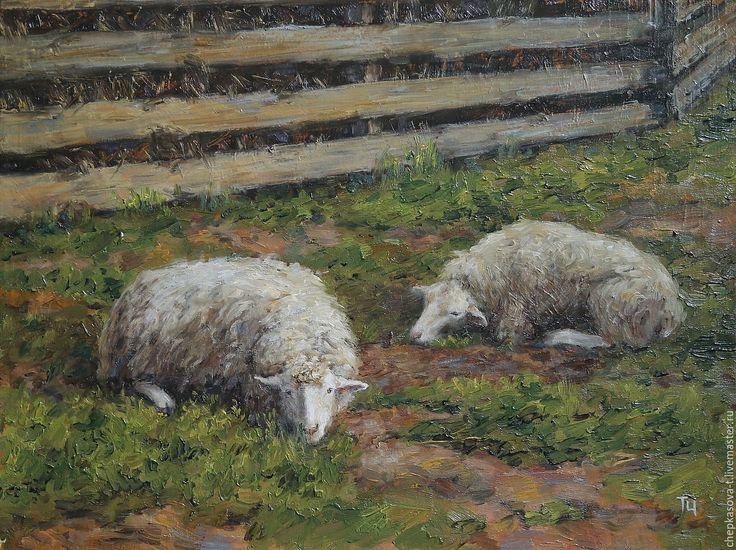 Купить Сиеста. Масло, холст - овцы, деревня, трава, лето, картина маслом