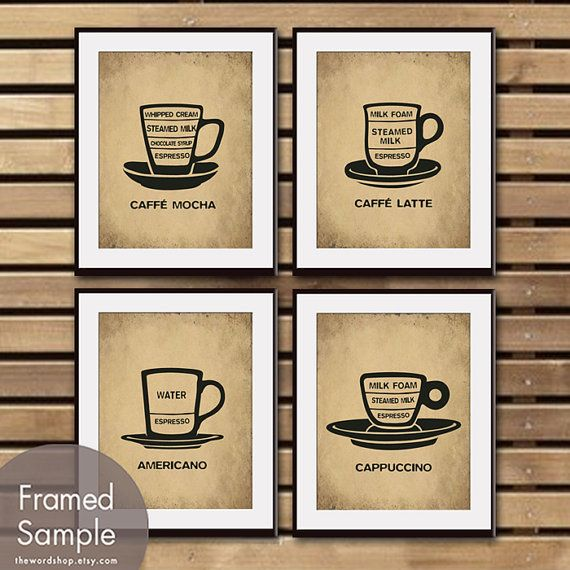 Barista Cafe Cup Series A Set of 4  11x14 Print by TheWordShop, $47.85