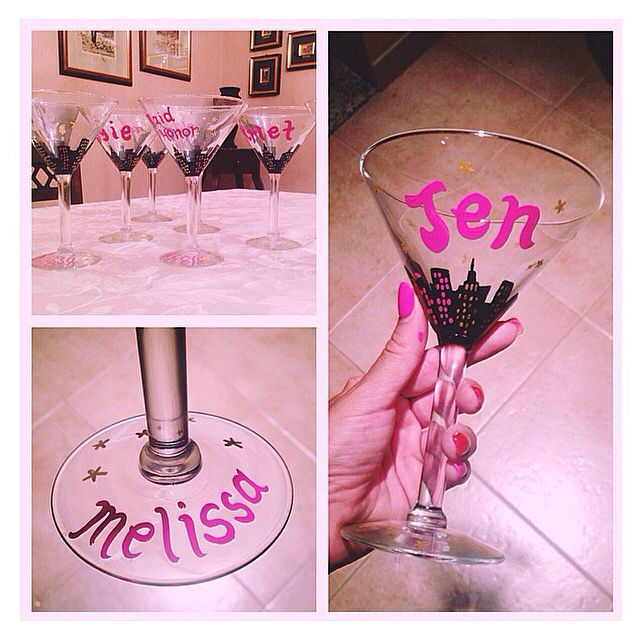 Hand painted wine glasses . Bridal wine glass . Custom made wine glass . Bride glass. Bridesmaids. Wedding glasses . DIY wine glasses. Sex and The City wine glass. Sex and the city martini glass. City martini glass . Bachelorette wine glass. Bachelorette martini glass. Wedding martini glass
