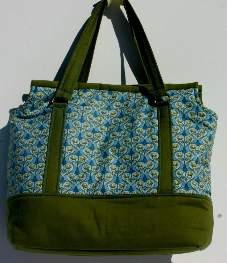 Green/Turquoise cotton handbag lined in olive green cotton. 31 x 30 x 10 cm $ 40