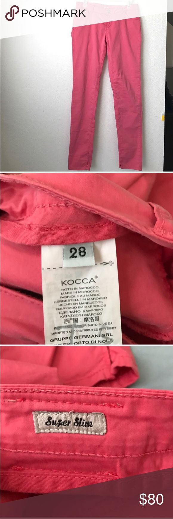 KOCCA Pink/Salmon Pants Super Slim 6/28 KOCCA Pink/Salmon Pants Super Slim  Size: 6/28 Fabric: 97% Cotton 3% Elastane Waist: 28 Inseam: 31 No snags, rips, Smoke Free House kocca Pants