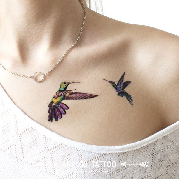 Two Hummingbirds tattoo Pattern Tattoo Temporary Tattoo wrist ankle body sticker fake tattoo by ArrowTattoo on Etsy https://www.etsy.com/listing/244549169/two-hummingbirds-tattoo-pattern-tattoo