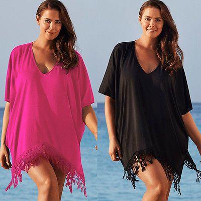 Lace Beach Cover up Chiffon V-neck Bikini Cover Ups Women Swimsuit Covers up Beachwear Beach Tunic Bathing Suit Tassel Coverups