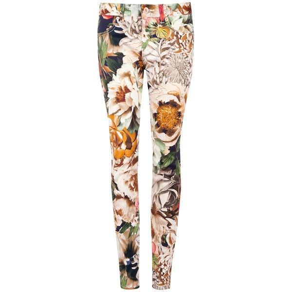 Ted Baker Tessah Floral Jeans, Ivory (€105) ❤ liked on Polyvore featuring jeans, pants, floral, jeans / pants / leggings, flower print jeans, floral print jeans, pink skinny jeans, winter white jeans and slim fit skinny jeans
