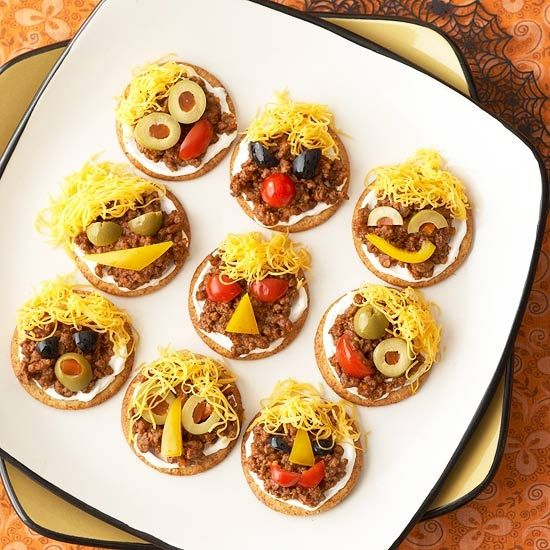 individual halloween nachos make a great bite of food for kids top with ortega salsa - Great Halloween Appetizers