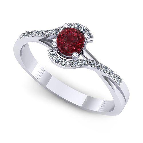 Inel logodna F60ARB * Piatra principala: 1 x rubin, dimensiune: ~3.80mm, forma: round * Pietre secundare: 22 x diamant, dimensiune: ~1.00mm, forma: round