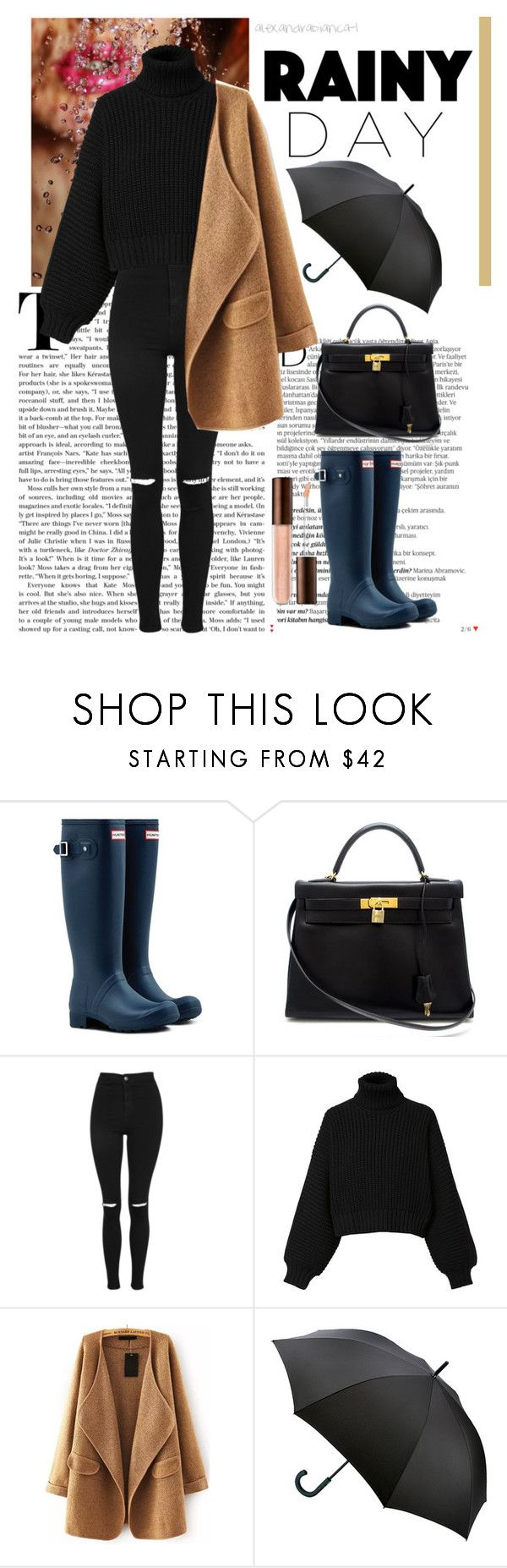 """Rainy day outfit-contest"" by alexandrabianca-1 on Polyvore featuring Balmain, Hunter, Hermès, Topshop, Diesel, WithChic and Fulton"