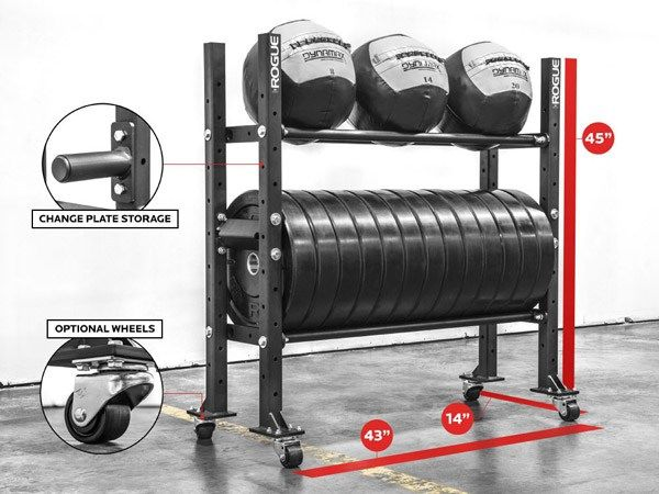 Rogue tier bumper plate storage shelf gym equipment