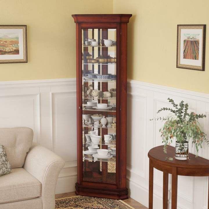 Three Posts Hollingdon Lighted Corner Curio Cabinet Corner Curio